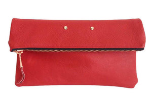 Oversized classic foldover clutch in pebble red
