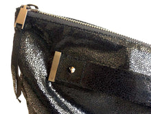 Load image into Gallery viewer, Oversized foldover clutch with strap metal end in crackle shiny black