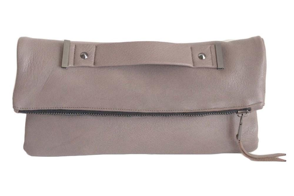Oversized foldover clutch with strap metal end in taupe grey
