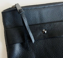 Load image into Gallery viewer, Oversized foldover clutch with strap in pebble black