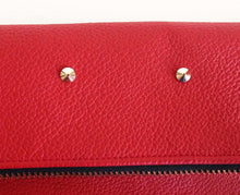 Load image into Gallery viewer, Oversized classic foldover clutch in pebble red