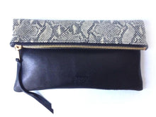 Load image into Gallery viewer, Oversized foldover leather clutch in python and black