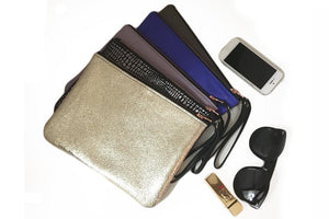 Genuine Leather wristlet clutch pouch purse | Taupe Grey Clutch | Wrist wallet | Gift for her