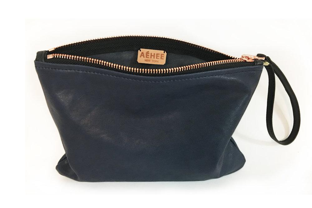 Genuine Leather wristlet clutch pouch purse | Navy Clutch | Wrist wallet | Navy Purse | Gift for her