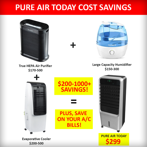 How much money can you save by purchasing a Pure Air Today 3-in-1 Air Purifier and Cooler?