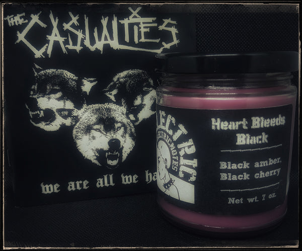 """Heart Bleeds Black"" candle"