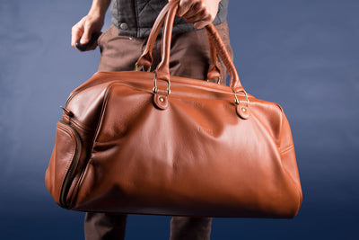 Leather Duffel Bag Hybrid (Divisions and Shoe Compartment)