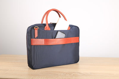 Blue Simple Fabric Briefcase