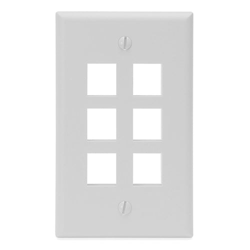 Kenuco White Keystone Wall Plate | Pack of 25 | 6 Port