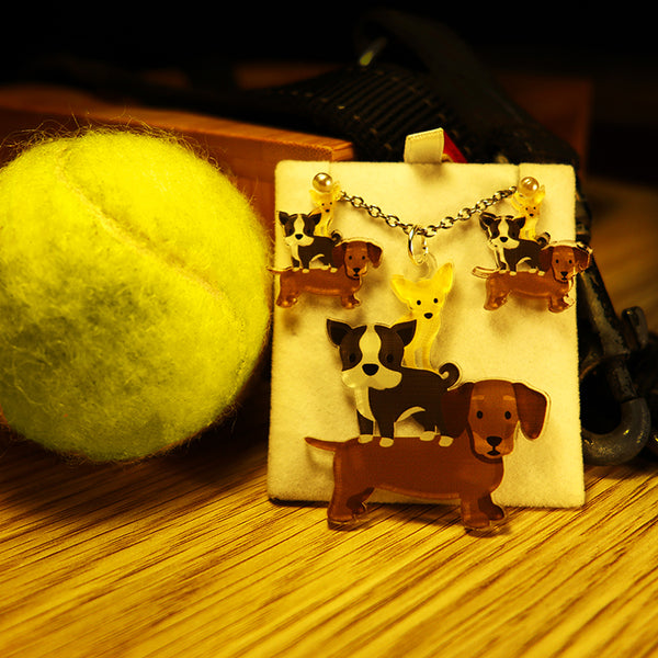 Stack of Dogs - Pendant/Earrings