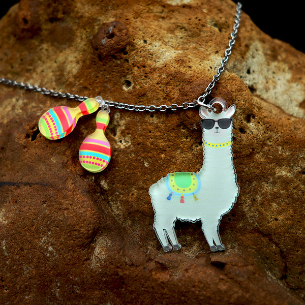 Alpaca with a Maraca - Pendant/Earrings