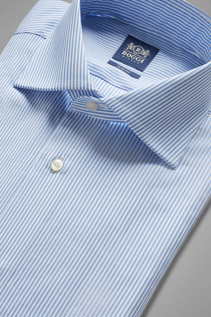 Slim Fit Sky Blue Striped Shirt With Windsor Collar