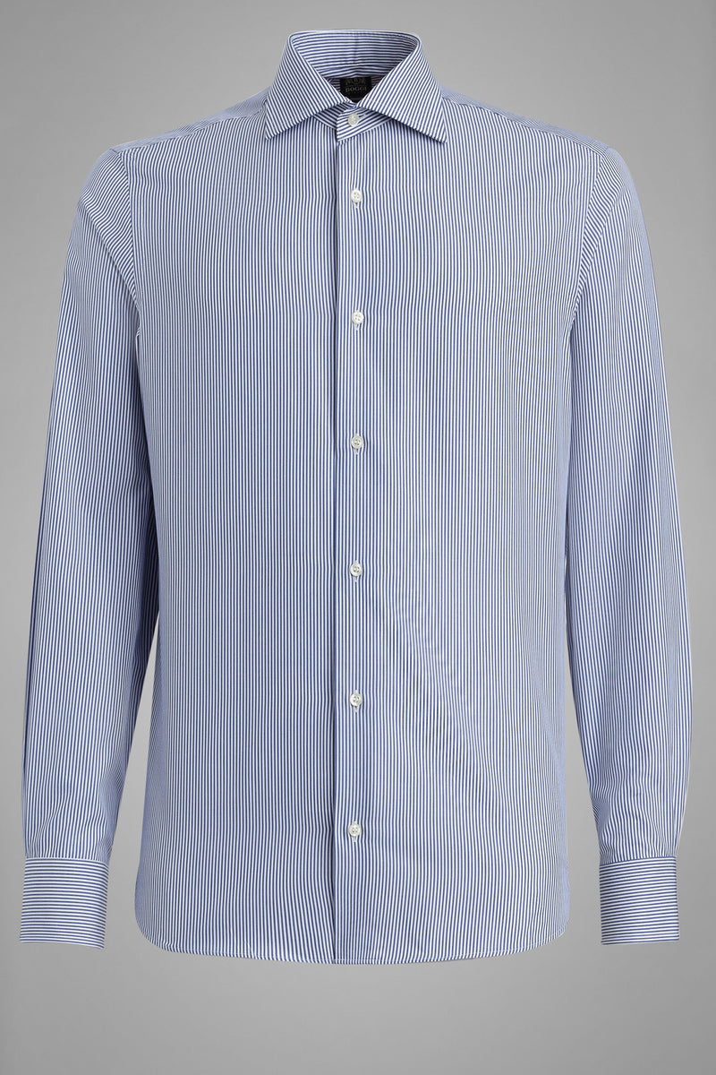 Slim Fit Blue Striped Shirt With Windsor Collar