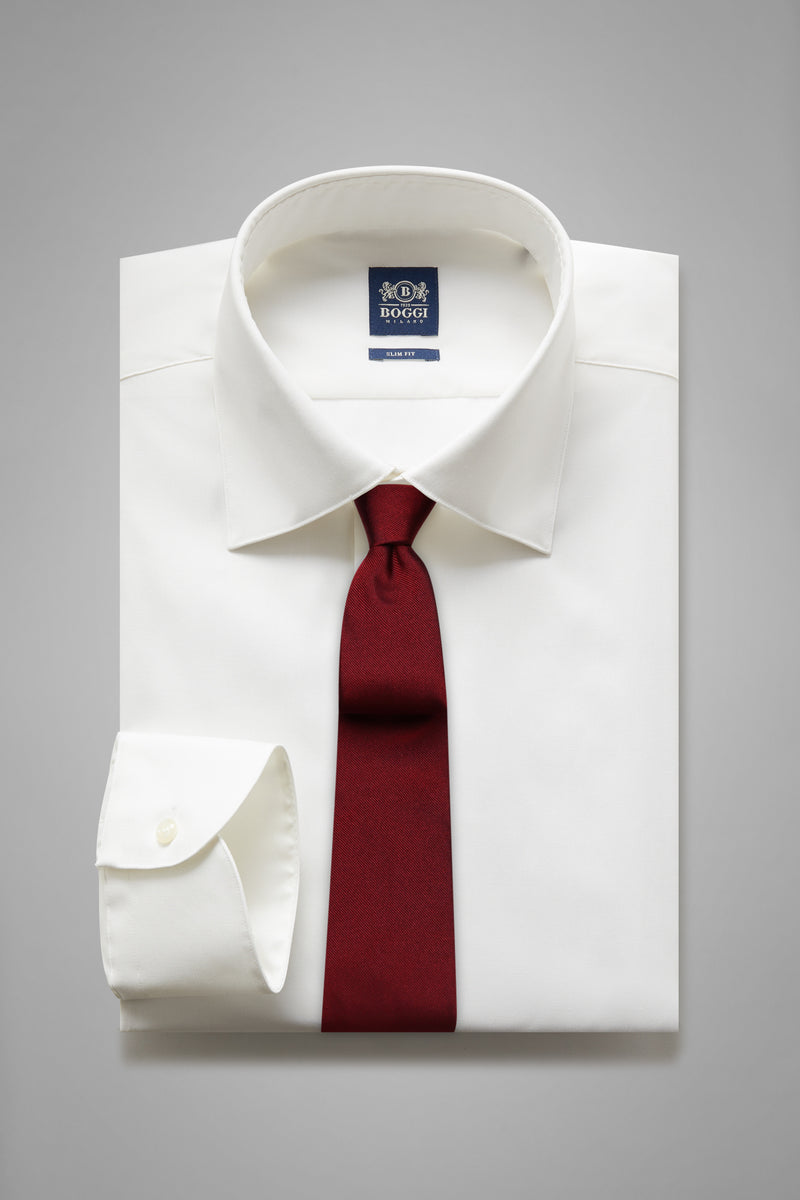 Slim Fit White Shirt With New York Collar