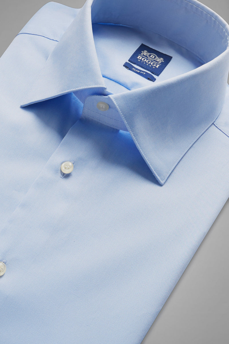 Slim Fit Sky Blue Shirt With New York Collar