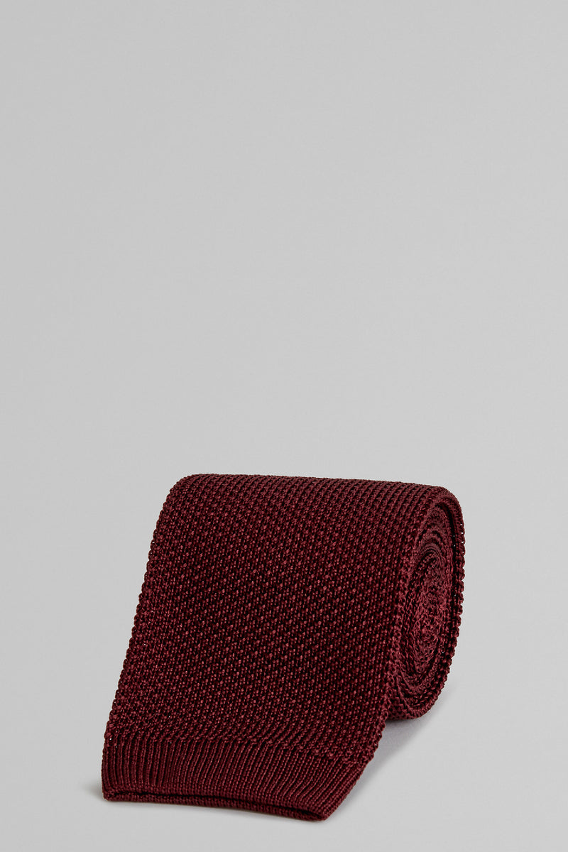 Burgundy Plain Knitted Silk Tie