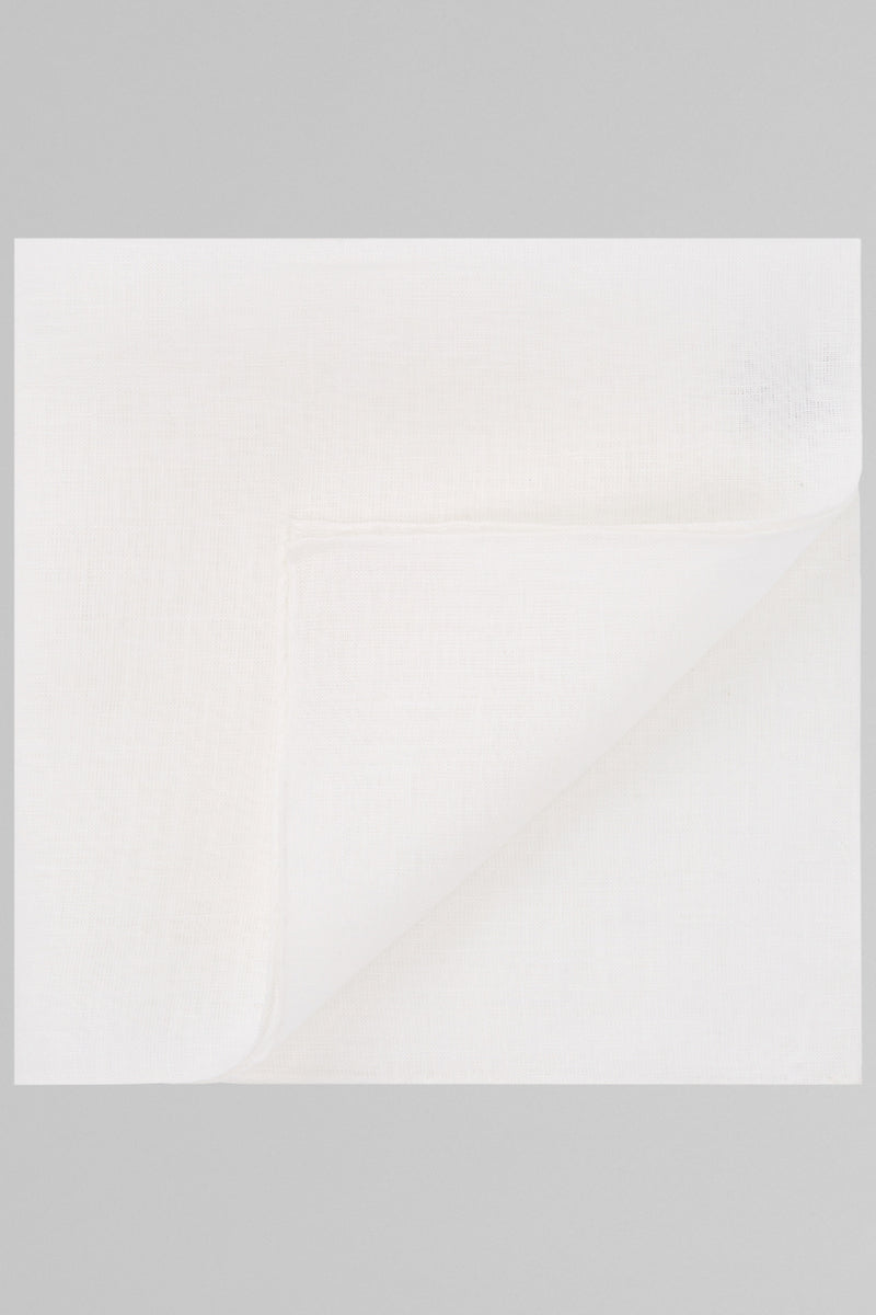 Plain White Pure Linen Pocket Square