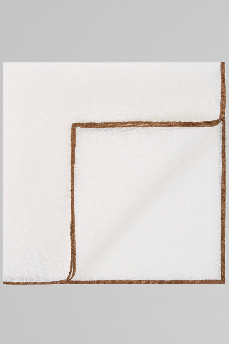 White Pure Linen Pocket Square With Brown Border
