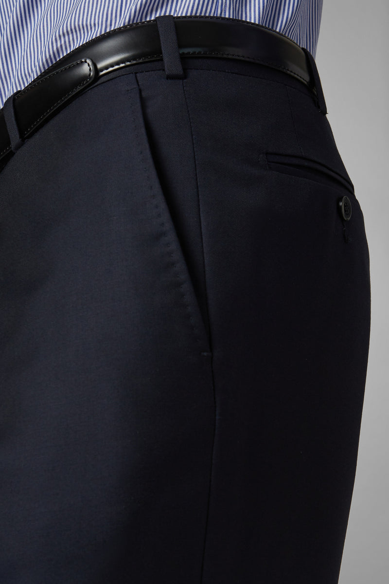 Regular Fit Navy Wool Suit Trousers