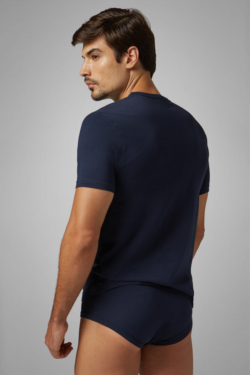 Navy Blue Stretch Cotton Undershirt