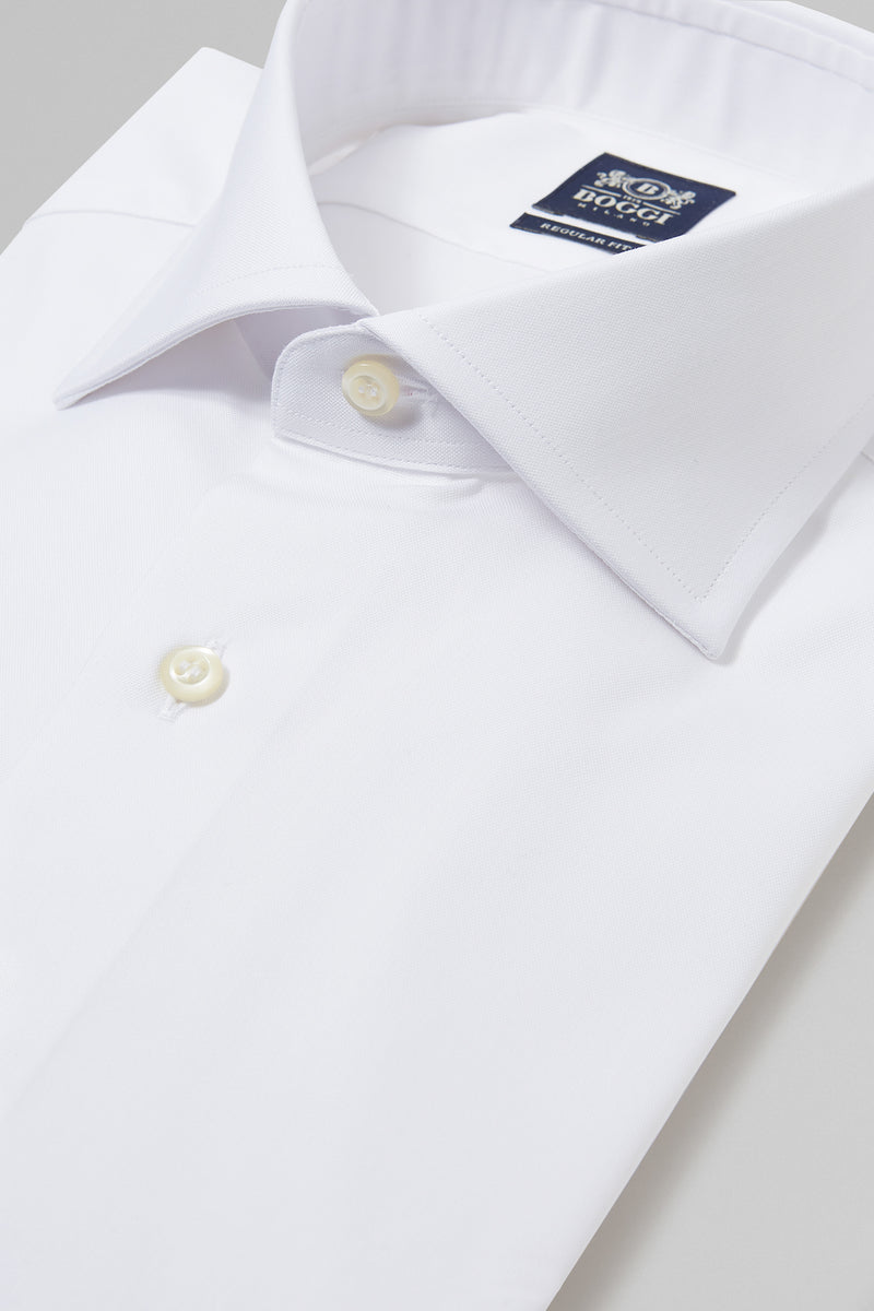 Regular Fit White Shirt With Windsor Collar