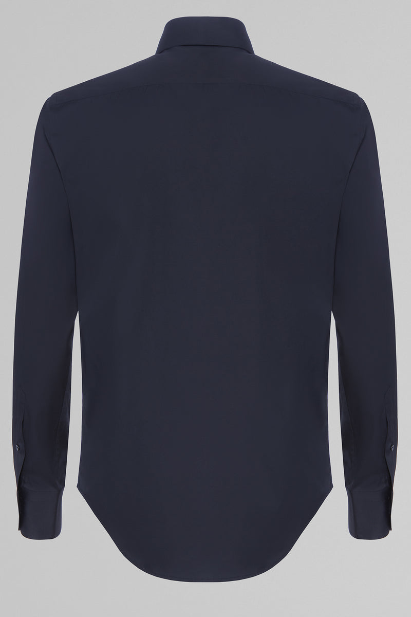 Slim Fit Navy Blue Shirt With New York Collar