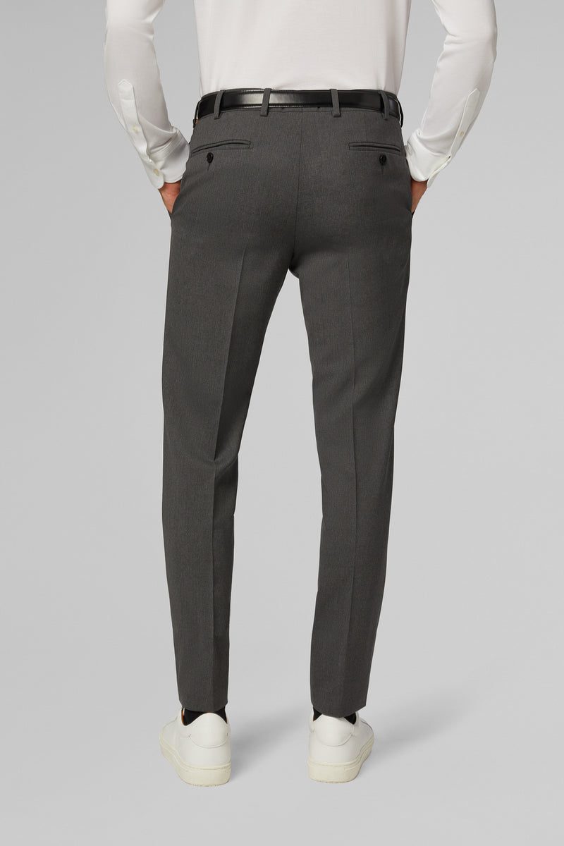 Slim Fit Grey Wool Travel Suit Trousers