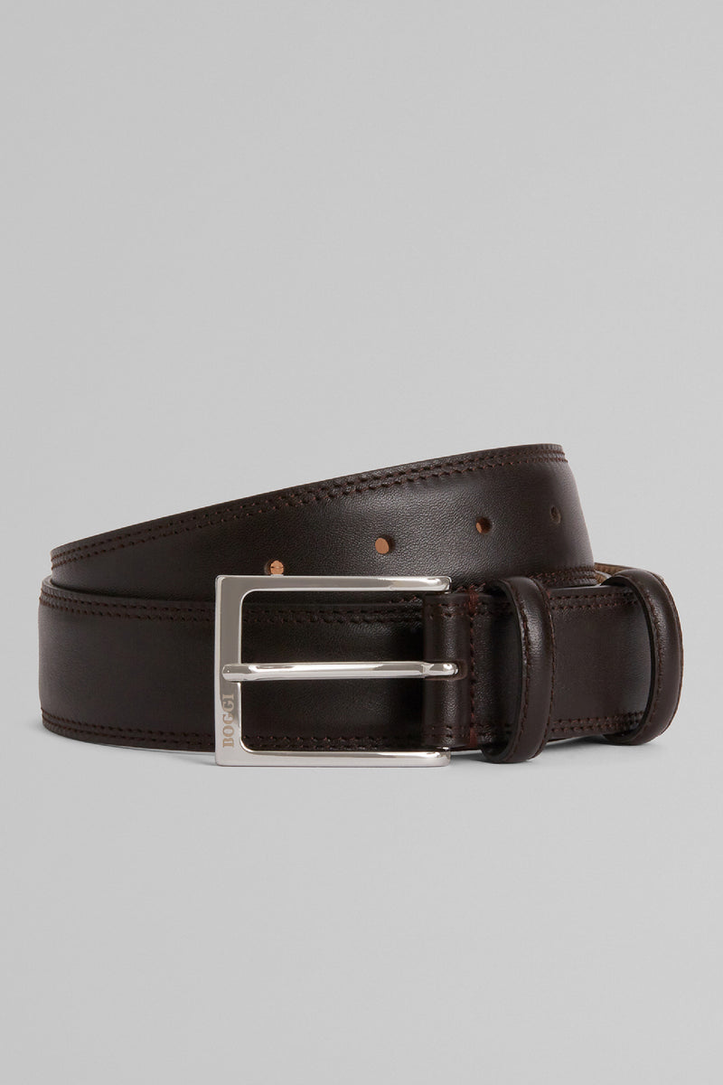 Grain Leather Belt With Double Topstitching