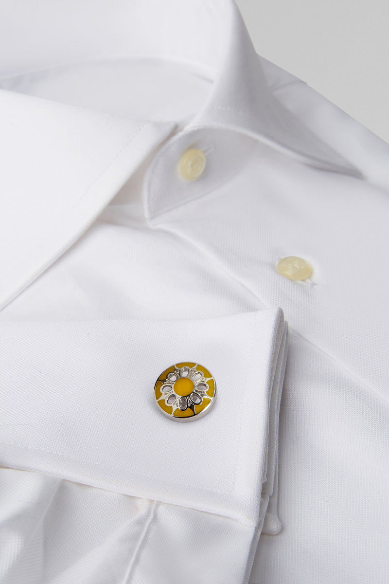 Coloured Metal Round Floral Cufflinks