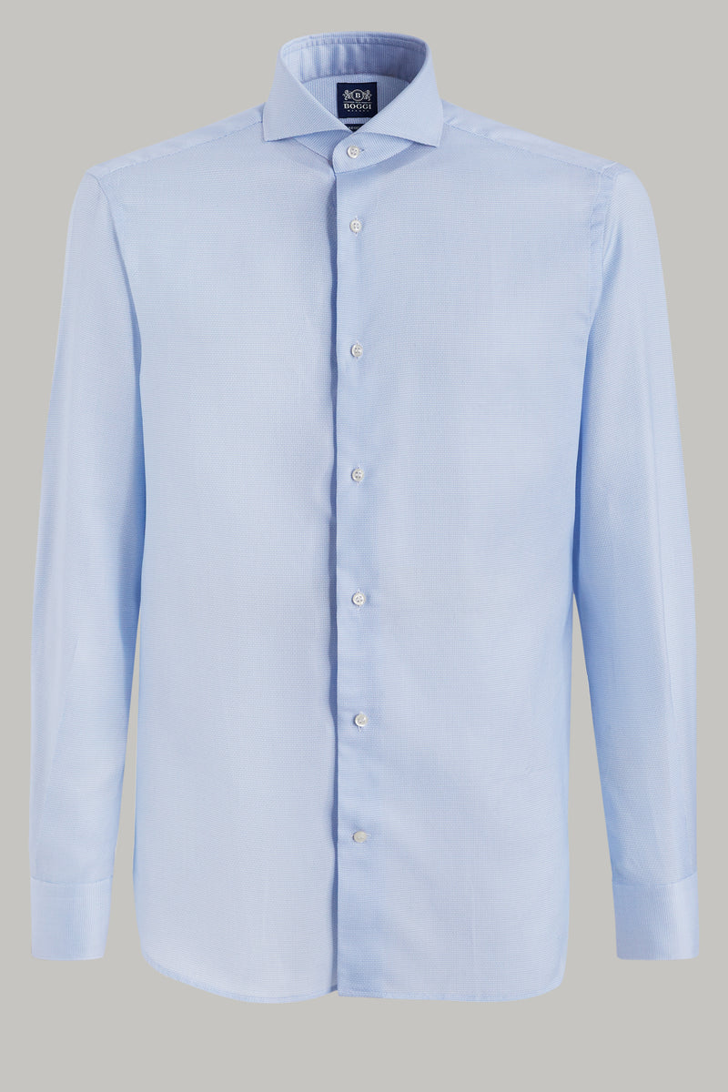 SKY BLUE MICROPATTERNED SHIRT IN ORGANIC COTTON