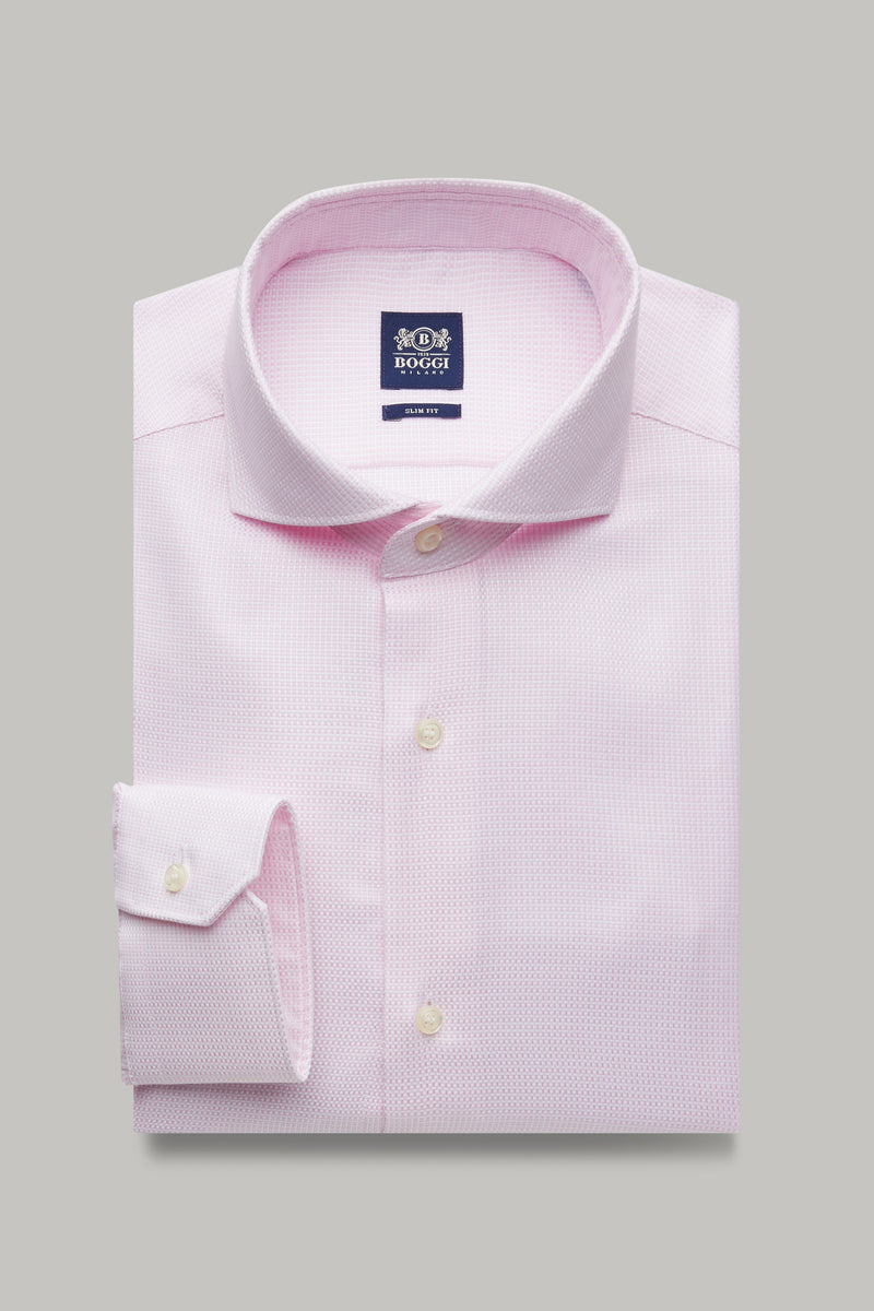 SLIM FIT PINK MICROPATTERNED COTTON SHIRT