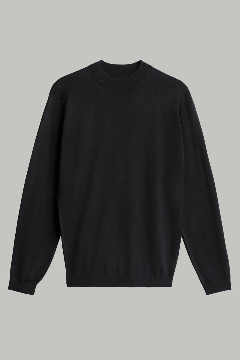 Black Cotton And Silk Mock Turtleneck Pullover