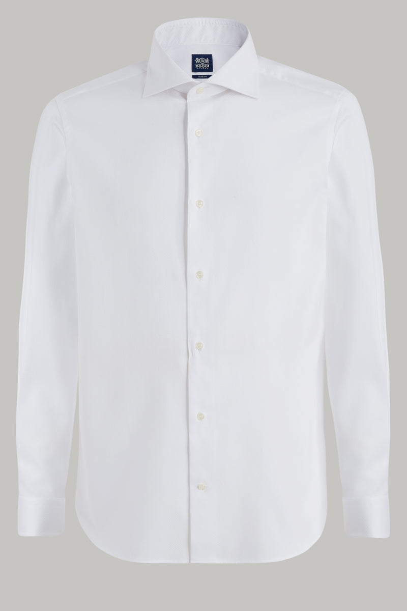 SLIM FIT WHITE COTTON SHIRT