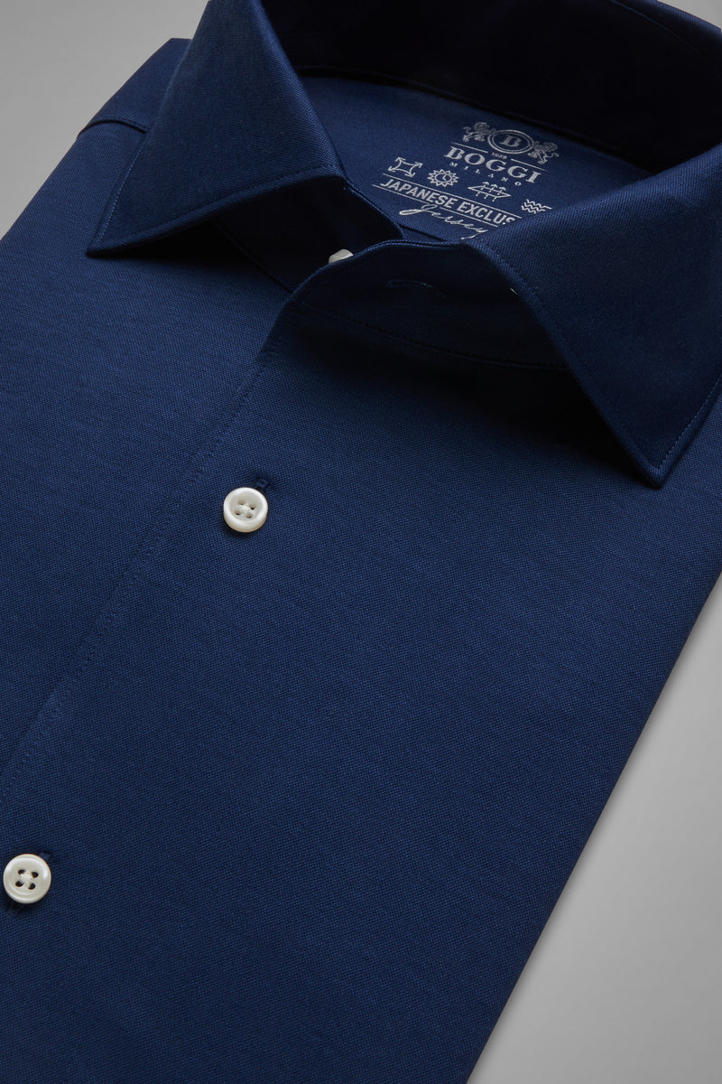 Regular Fit Navy Blue Casual Shirt With Cuban Collar