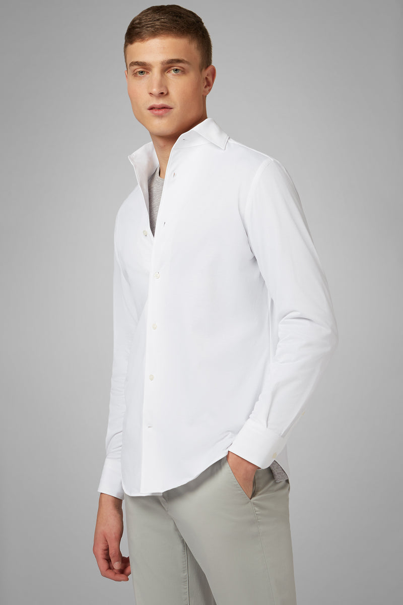 Regular Fit White Casual Shirt With Cuban Collar