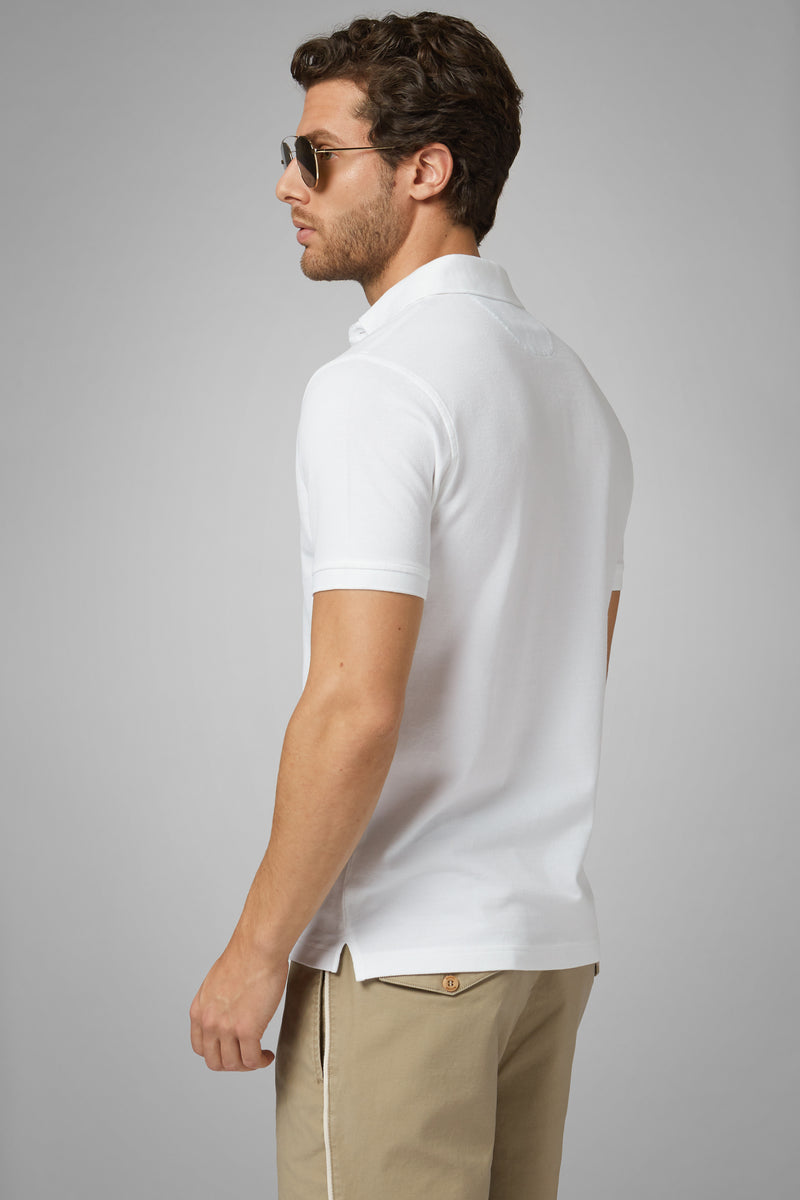 White Cotton Piqué Polo Shirt