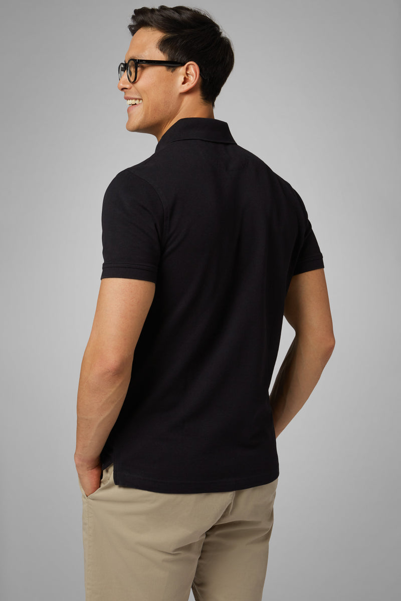 Black Cotton Piqué Polo Shirt