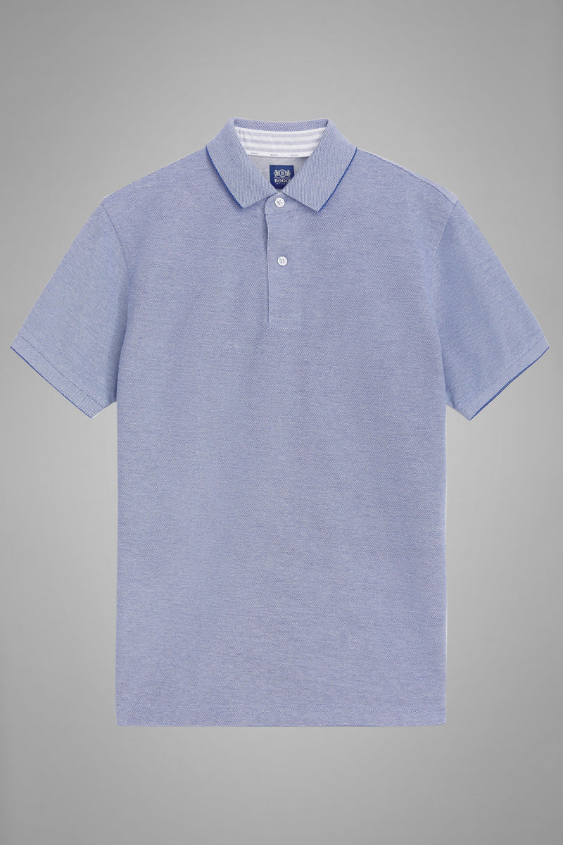 Blue Cotton Piqué Polo Shirt