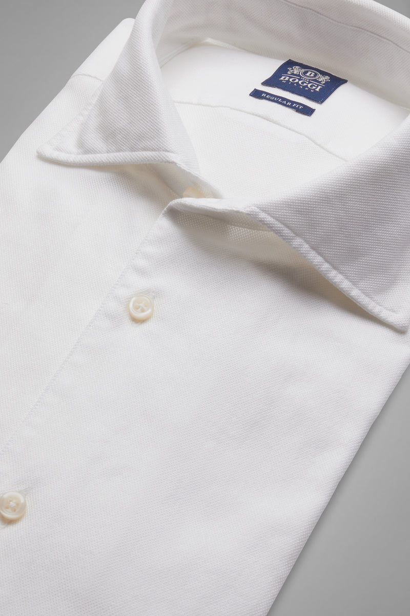 Regular Fit White Shirt With Cuban Collar