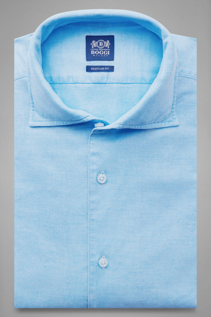 Regular Fit Turquoise Shirt With Cuban Collar