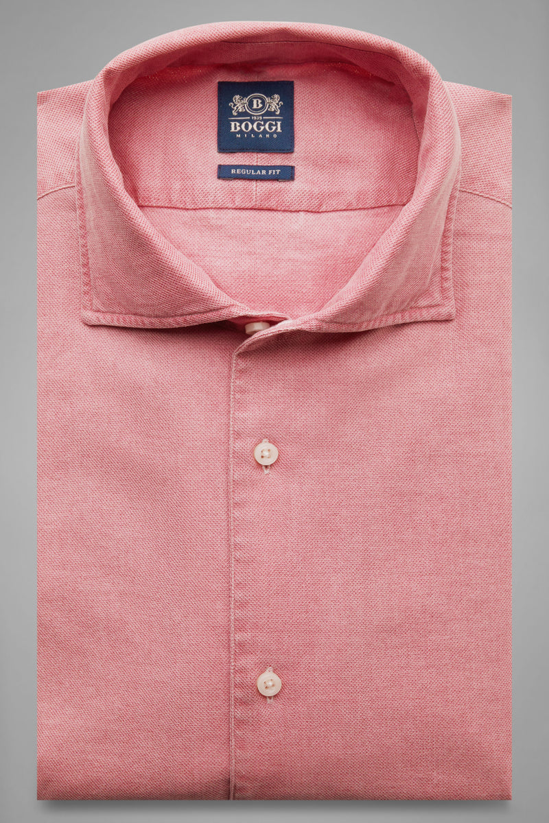 Regular Fit Red Shirt With Cuban Collar