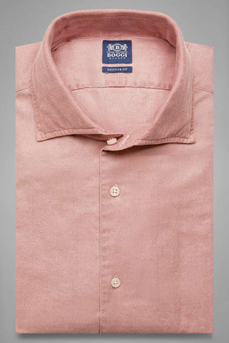Regular Fit Terracotta Shirt With Cuban Collar