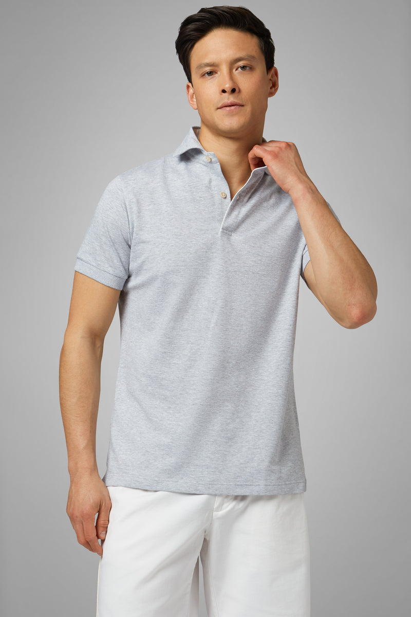 Grey Slub Cotton/Linen Piqué Polo Shirt