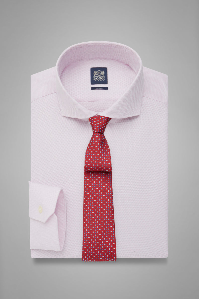 Slim Fit Pink Honeycomb Textured Shirt With Naples Collar