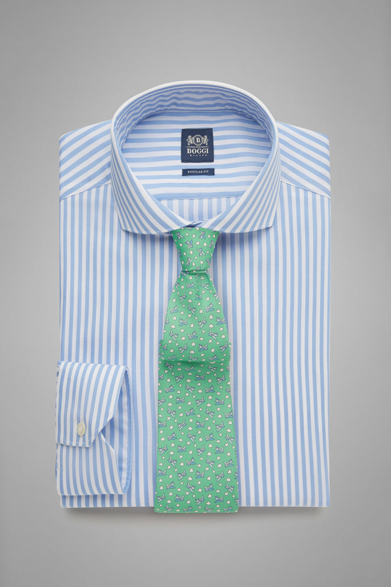 Regular Fit Sky Blue Striped Shirt With Naples Collar
