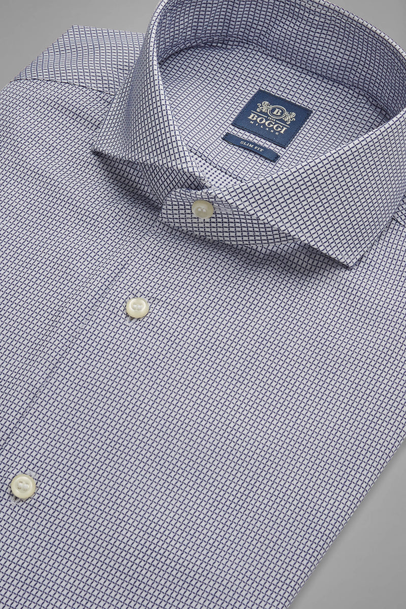 Slim Fit Blue Shirt With Naples Collar