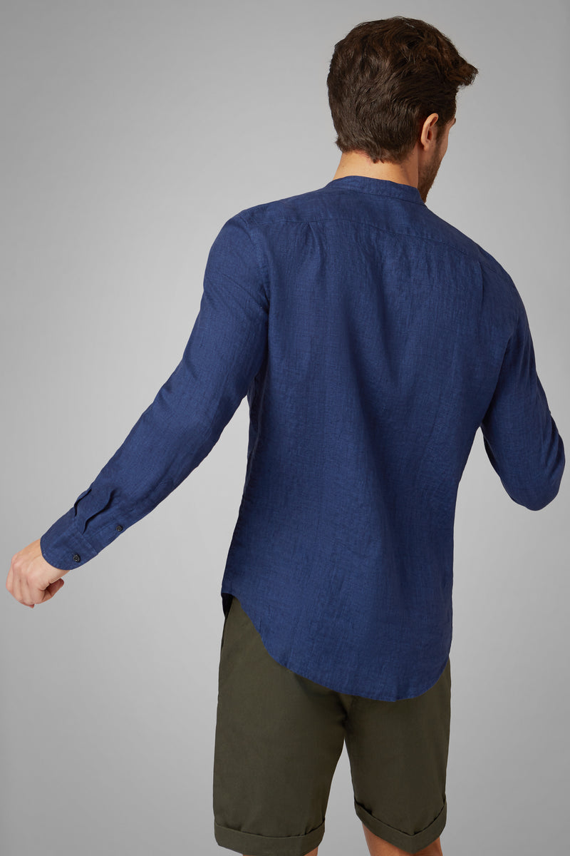 Regular Fit Blue Shirt With Mandarin Collar