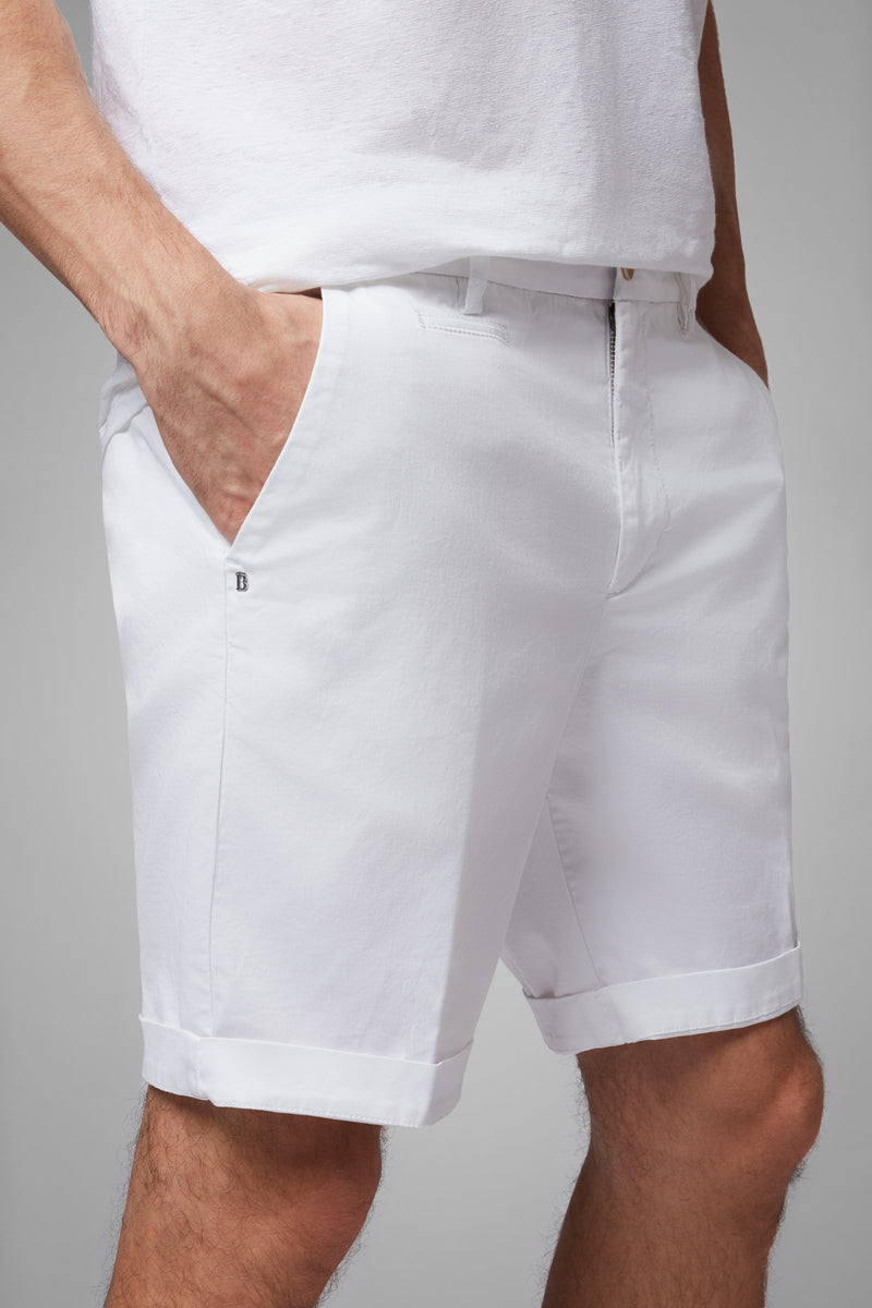 Plain Cotton Gabardine Bermuda Shorts