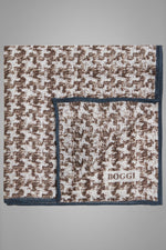 Houndstooth Print Linen Pocket Square