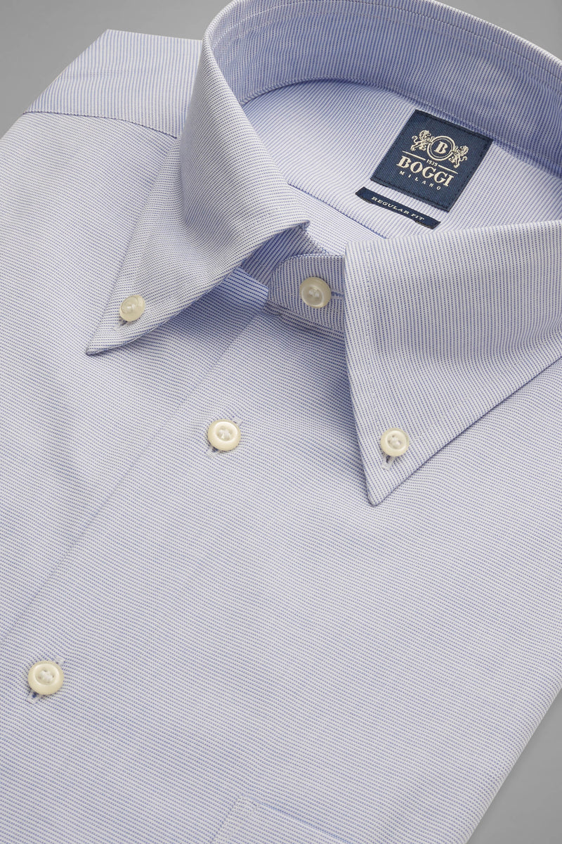 Regular Fit Sky Blue Shirt With Boston Collar